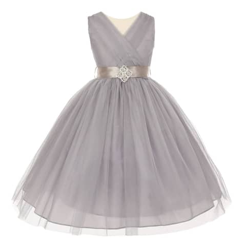aacc0b46f8e Little Girls Silver Pleated Rhinestone Brooch Tulle Flower Girl Dress 2-6