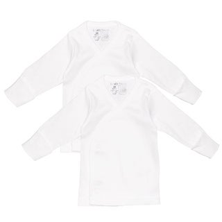 Luvable Friends Unisex 0-3 Months Long-Sleeve Side Snap Shirt - 2 Pack - White