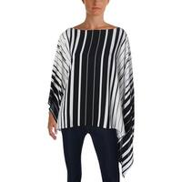 Vince Camuto Womens Poncho Top Striped Poncho