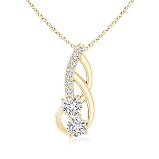 Angara 3.5mm Linear Double Diamond Loop Pendant with Prong Setting in 14K Yellow Gold - White H-I