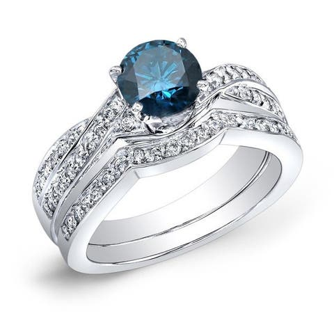 Auriya 14k Gold 3/4ctw Twisted Round Blue Diamond Engagement Ring Set