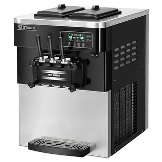 STAKOL 2200W Commercial 3 Flavor Ice Cream Machine Stainless Steel 20-28L/H LCD Display