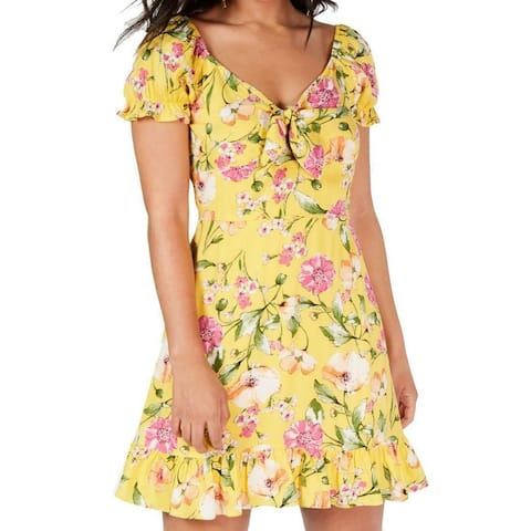 City Studio Dress Sunshine Yellow Size 0 Junior Sheath Ruffle Hem