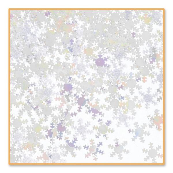 Pack of 6 Metallic Iridescent Snowflake Christmas Celebration Confetti Bags 0.5 oz. - WHITE