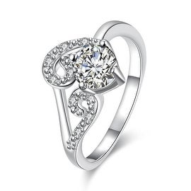 Classic Crystal Duo-Spiral Design Petite Ring