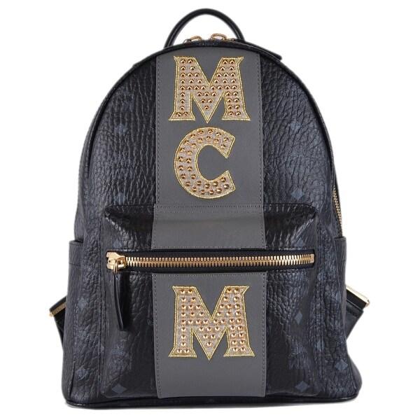 MCM STARK Black Visetos Monogram Logo Stripe Studded Backpack Bag - Gold 7d3aa02fad66a
