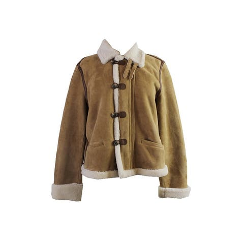 Lauren Ralph Lauren Tan Shearling Toggle Jacket - 14
