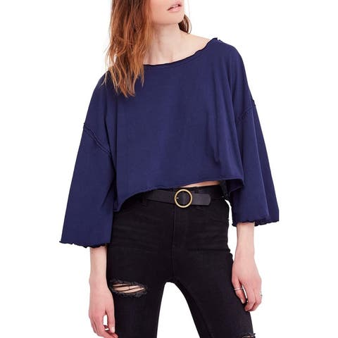 We The Free Blue Women's Size Large L 3/4 Bell Sleeve Crop Top