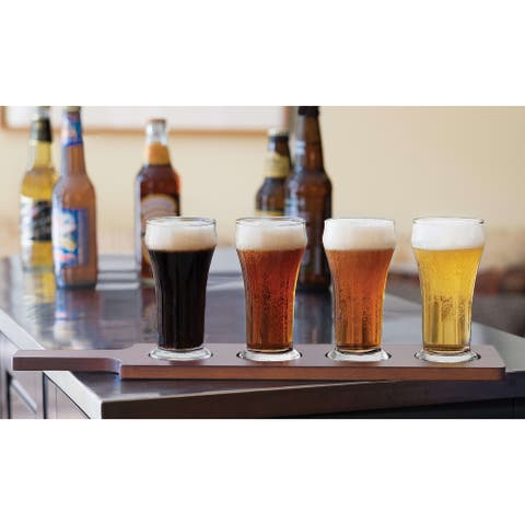Libbey Craft Brews Beer Flight Glass Set with Wood Carrier, 4 Glasses