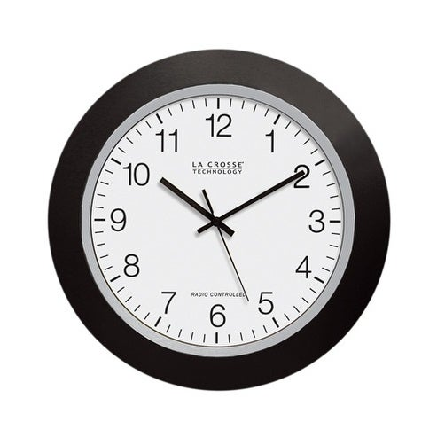 "La Crosse WT-3129 Atomic Analog Black Wall Clock, 12"""