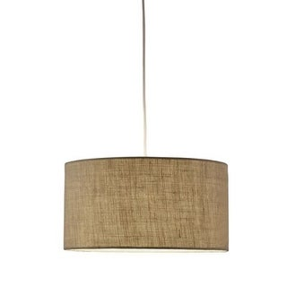 """Adesso 4001 Harvest 15"""" Wide 1 Light Pendant with Fabric Drum Shade"""