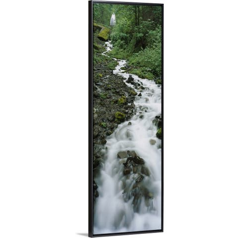 """""""Stream flowing through a forest, Wahkeena Waterfall, Columbia River Gorge, Oregon"""" Black Float Frame Canvas Art"""