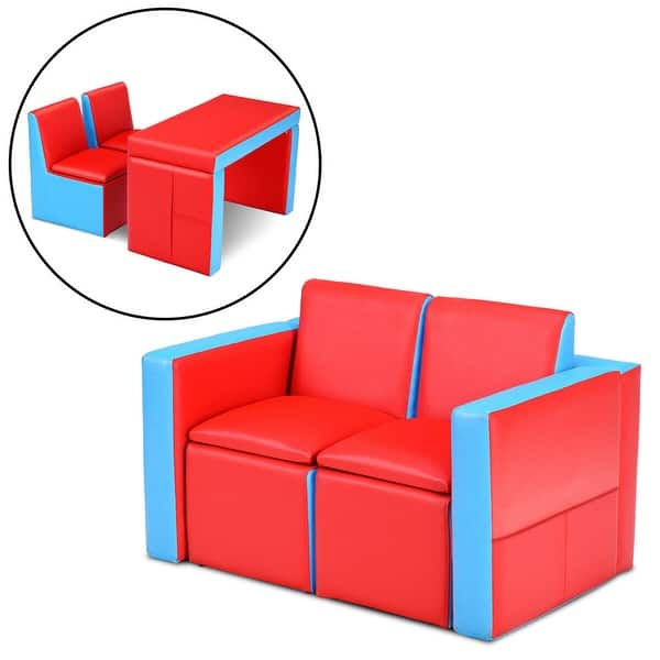 Shop Gymax Multi-functional Kids Sofa Table Chair Set Couch ...