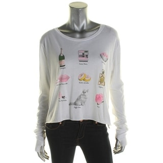 Wildfox Couture Womens Girls Night T-Shirt Burnout Graphic - l