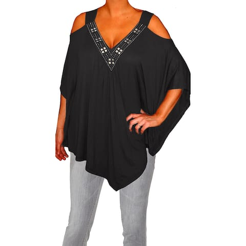 Funfash Plus Size Women Open Shoulder Black Blouse Top Made in USA