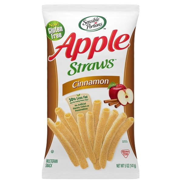 Sensible Portions Apple Straws - Cinnamon - Case of 12 - 5 oz.