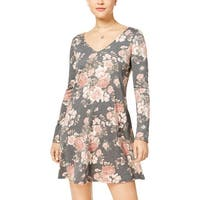 BCX Womens Juniors Mini Dress Lace-Up Floral Print