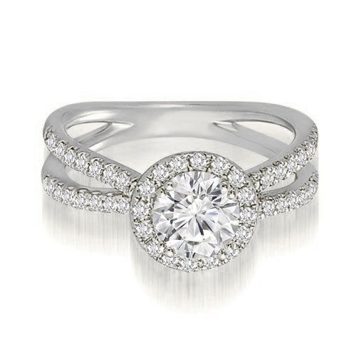 1.35 cttw. 14K White Gold Halo Split-Shank Round Diamond Engagement Ring