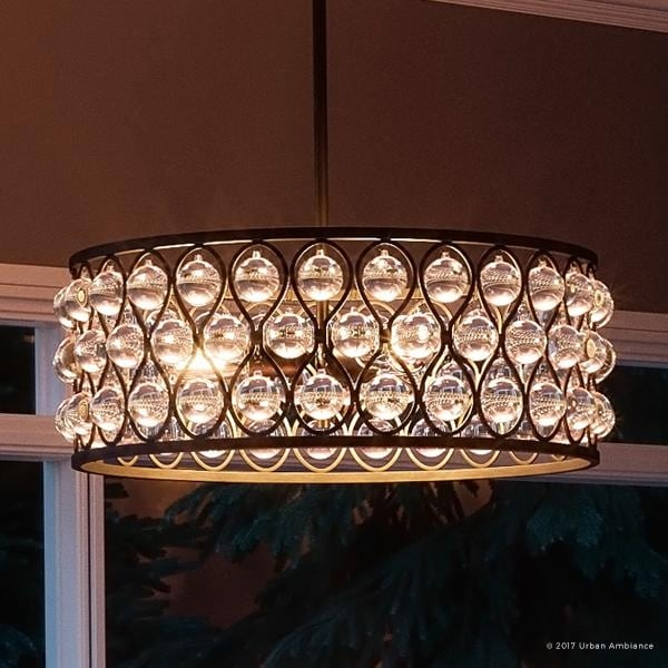 Luxury Crystal Chandelier 8 H X 19 5 W With Moroccan Style Drum Design Parisian Bronze Finish