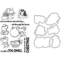 Hero Arts Clear Stamp & Die Combo-Christmas Mice