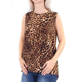 Womens Brown Animal Print Sleeveless Jewel Neck Casual Top Size S