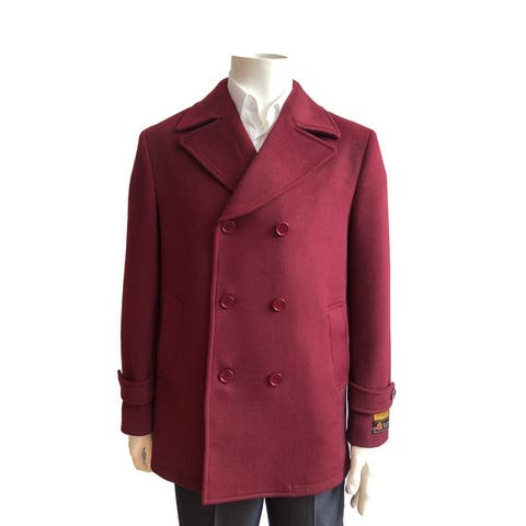 Mens Classic Wool Double Breasted Pea Coat