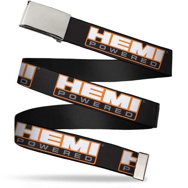 Blank Chrome Bo Buckle Hemi Powered Logo Repeat Black Orange White Web Belt