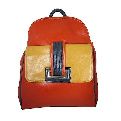 Aryana Junior Womens Orange Front Pocket Top Zipper Bita Backpack - One Size