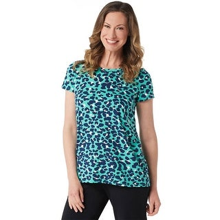 Cuddl Duds Womens Flexwear Split Back Tee Plus 2X Lagoon Animal Print A346813