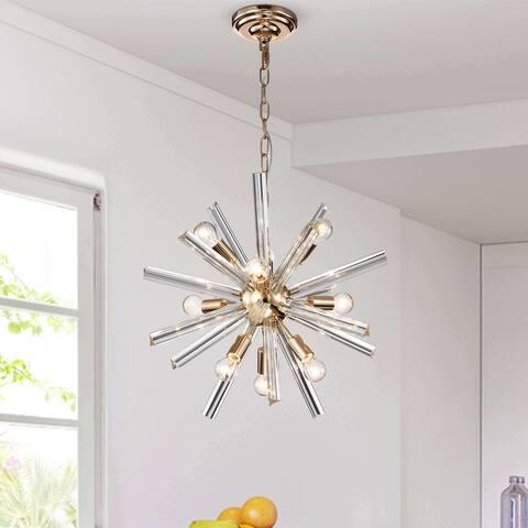 Lorena Gold Plating 9-Light Clear Glass Bar Sputnik Chandelier