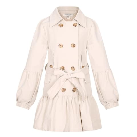 Richie House Girls' Double-breased Jacket with Belt
