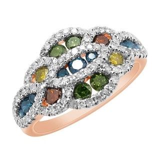 Prism Jewel 1.10Ct Multi Color Diamond & Diamond Designer Ring - White G-H