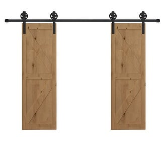 Link to HOMCOM 6.6ft Carbon Steel Sliding Barn Door Kits Hardware Closet Set Track System for Double Wooden Door Industrial Roller Similar Items in Doors & Windows