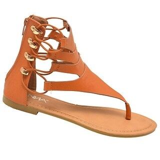 Anna Adult Tan Thong Strap Stretch Lace Up Design Flip Flop Sandals