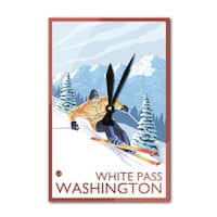 Downhhill Snow Skier White Pass WA - LP Artwork (Acrylic Wall Clock) - acrylic wall clock
