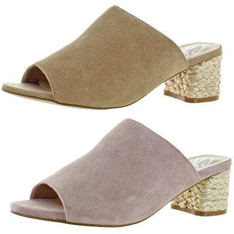 Sbicca Women's Halma Suede Open-Toe Raffia Heeled Slip On Sandals Shoes