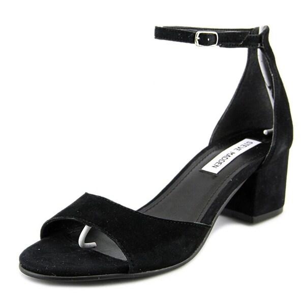 Steve Madden Iiden Women Open Toe Suede Black Sandals