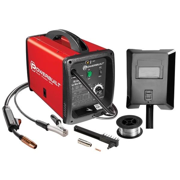 shop powerbuilt mig 90 amp flux core wire feed welder compact