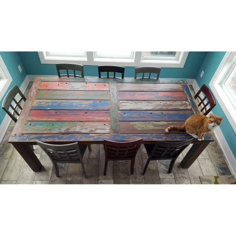 Chic Teak Rustic Rectangular Dining Table Made From Recycled Teak Wood Boats 87 x 43 Inches - Multi