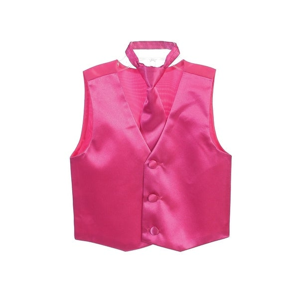 f33e61571 Shop Little Boys Fuchsia Three Button Satin Vest Tie 2 Pc Set - Free  Shipping On Orders Over $45 - Overstock - 28296776