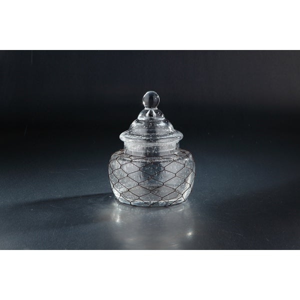 """8.5"""" Clear Solid Hand Blown Glass Jar with Lid Tabletop Decor - N/A"""
