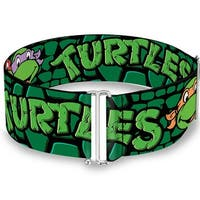 Classic Tmnt Group Faces Turtles Turtle Shell Black Green Cinch Waist Belt   ONE SIZE