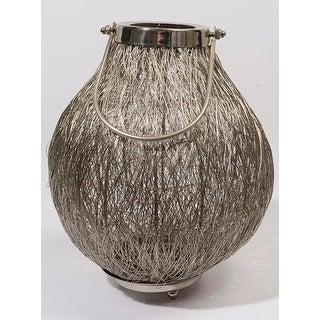 "18.5"" Urban Life Contemporary Silver Tea Light Candle Holder Lantern"