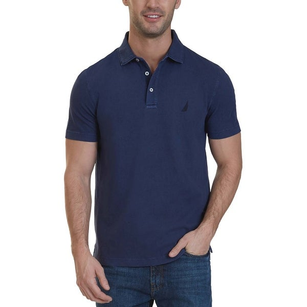 Nautica Clic Fit True Navy Blue Dyed Short Sleeve Polo Shirt Large L Free Shipping On Orders Over 45 19736354