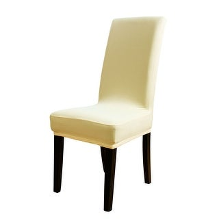 Unique Bargains Stretch Short Dining Chair Cover Slipcovers Beige