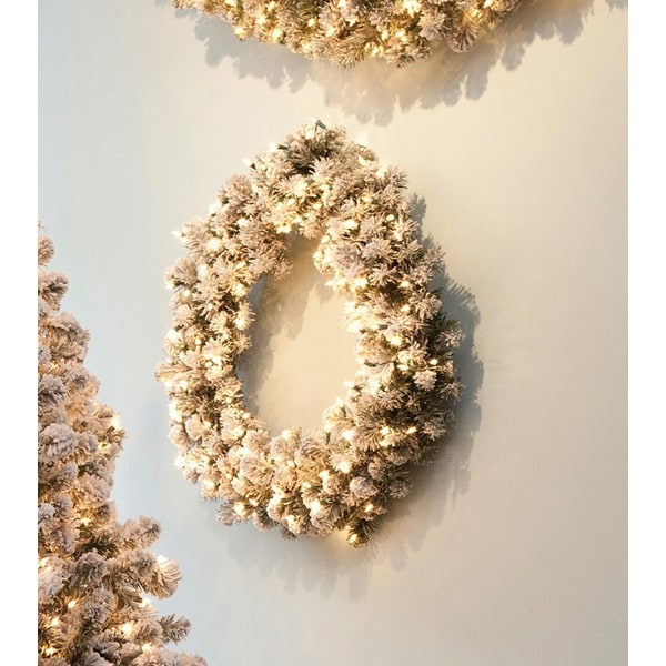 """30"""" Pre-Lit Snowy Pine Flocked Artificial Christmas Wreath - Clear Lights"""