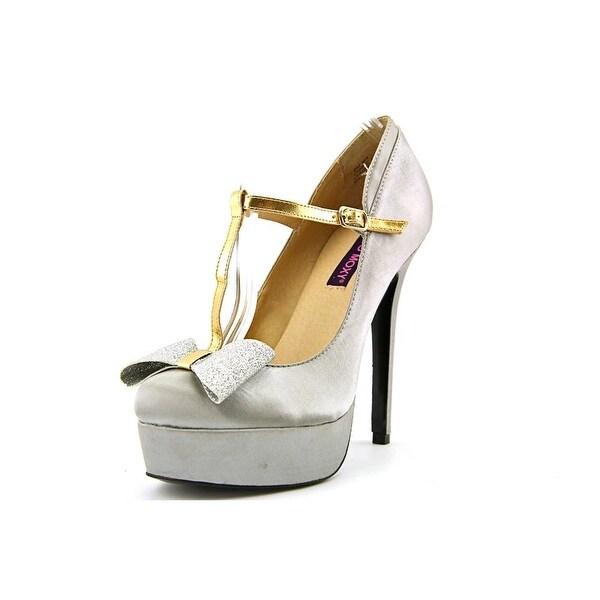 Mojo Moxy Twinkle Women Open Toe Canvas Gray Platform Heel