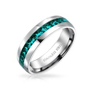 Bling Jewelry Imitation Aquamarine Crystal Birthstone Eternity Ring Steel (3 options available)