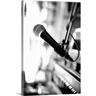 """""""Microphone On Empty Stage"""" Canvas Wall Art"""