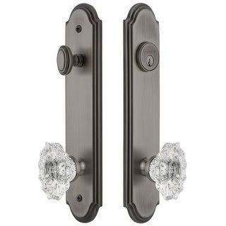 """Grandeur ARCBIA_TP_ESET_234  Arc Solid Brass Tall Plate Single Cylinder Keyed Entry Set with Biarritz Crystal Knob and 2-3/4"""""""